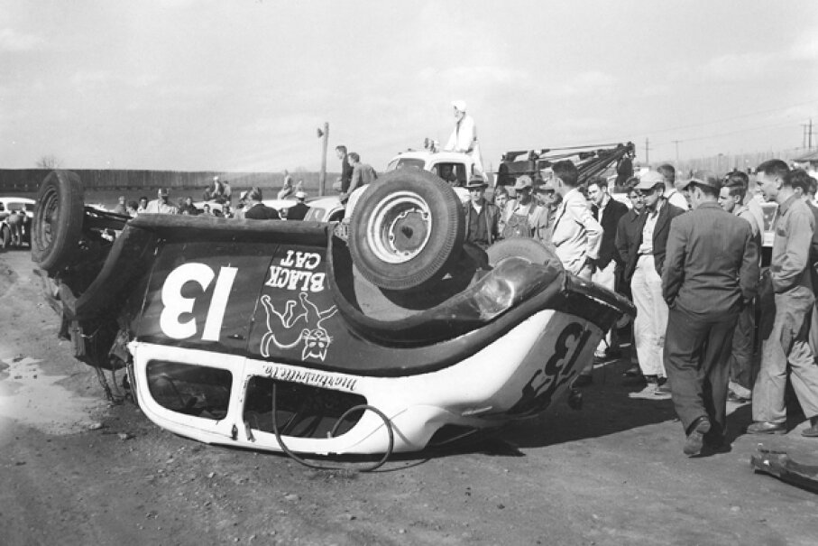 Black cats and the number 13 have always been considered unlucky, and definitely were so for this Modified stock car driver in the early-1950s. (ISC Images & Archives via Getty Images)