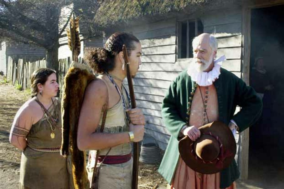 Actors play the parts of colonists and Wampanoag at Plimouth Plantation, a recreation of Plymouth Colony. Note the authentic clothing, which differs from the usual depictions of Thanksgiving. Michael Springer/Getty Images