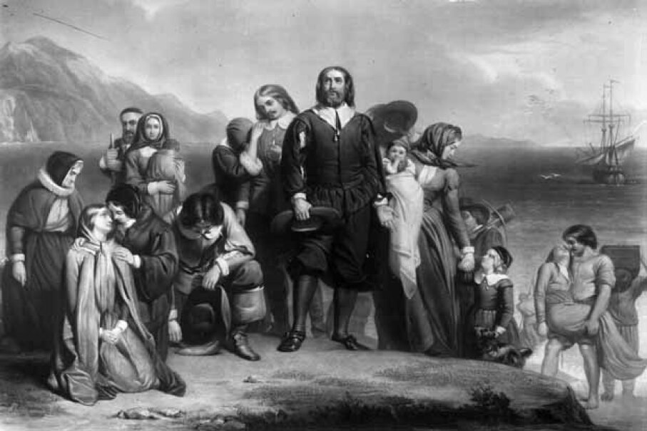 The Pilgrim fathers land in New England, where they founded the Plymouth Colony. Three Lions/Getty Images