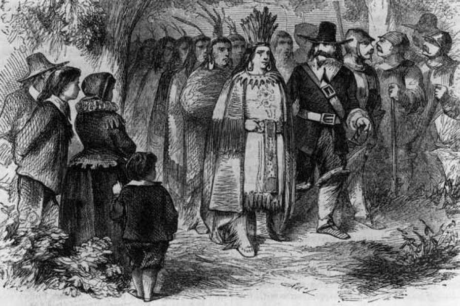 Chief Massasoit pays a visit to the Pilgrims' camp at Plymouth Colony, circa 1621. MPI/Getty Images