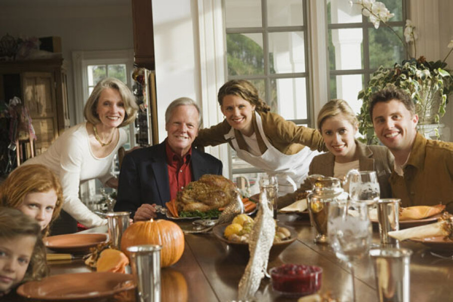 The modern Thanksgiving dinner with turkey, cranberry sauce, and mashed potatoes -- none of which was was on the original menu.  In fact we might not even be commemorating the first Thanksgiving. Comstock/Thinkstock