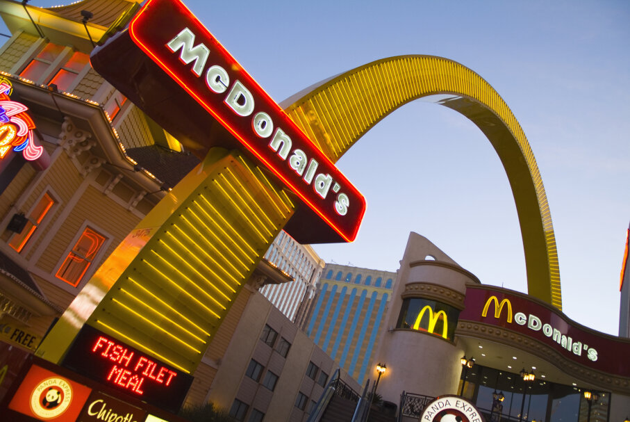 A McDonald's neon sign shines brightly on Las Vegas Boulevard. Fast-food patronage has been dropping in the past decade. Richard T. Nowitz/Getty Images