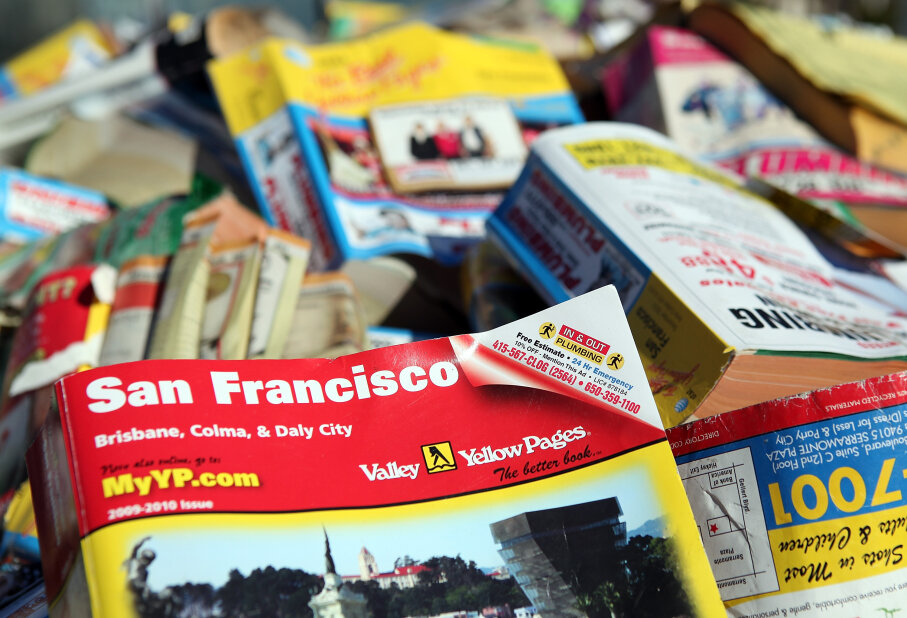 In 2011, San Francisco became the first city to ban unsolicited distribution of the Yellow Pages phone book. The directory has gone from necessity to nuisance in about a century. Justin Sullivan/Getty Images