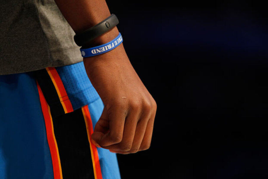 A Nike FuelBand worn by Kevin Durant of the Oklahoma City Thunder during an NBA All-Star Weekend in 2012. Mike Ehrmann/Getty Images Sport/Getty Images
