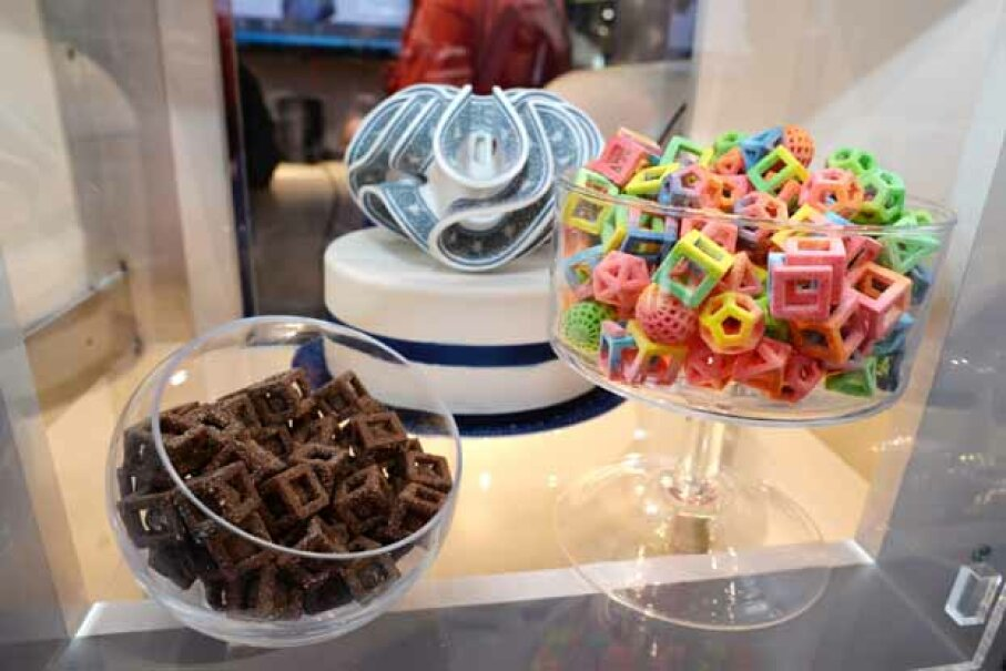 These edible confections were made in the 3D Systems ChefJet Pro 3D food printer and displayed at the 2014 International CES in Las Vegas. ROBYN BECK/AFP/Getty Images