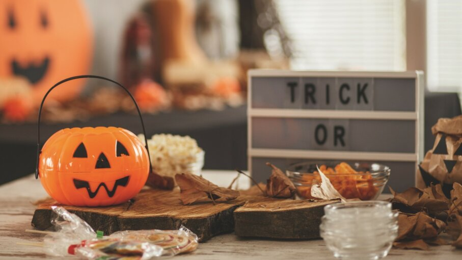 Shot of a table with Halloween decoration
