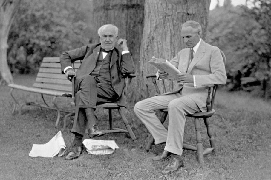 Henry Ford (right) had a longstanding friendship and working relationship with Thomas Edison (left). (Courtesy of the Ford Motor Company)