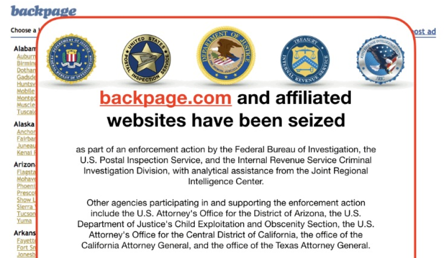 Screenshot of Backpage.com