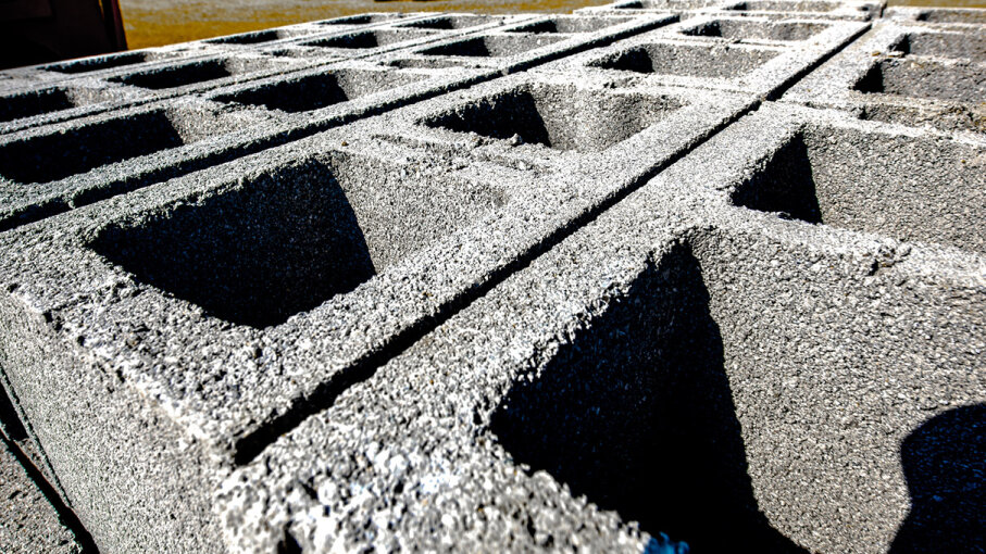 Cinder blocks at construction site