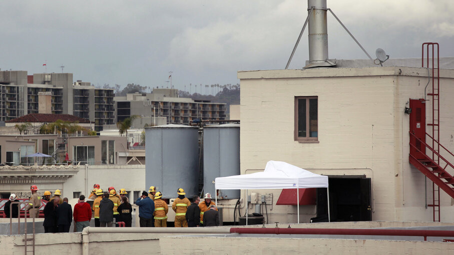 Authorities gathered on the roof of the Cecil Hotel in downtown Los Angeles after the discovery of Elisa Lam's body in the hotel's water tank. Jay L. Clendenin/Los Angeles Times via Getty Images