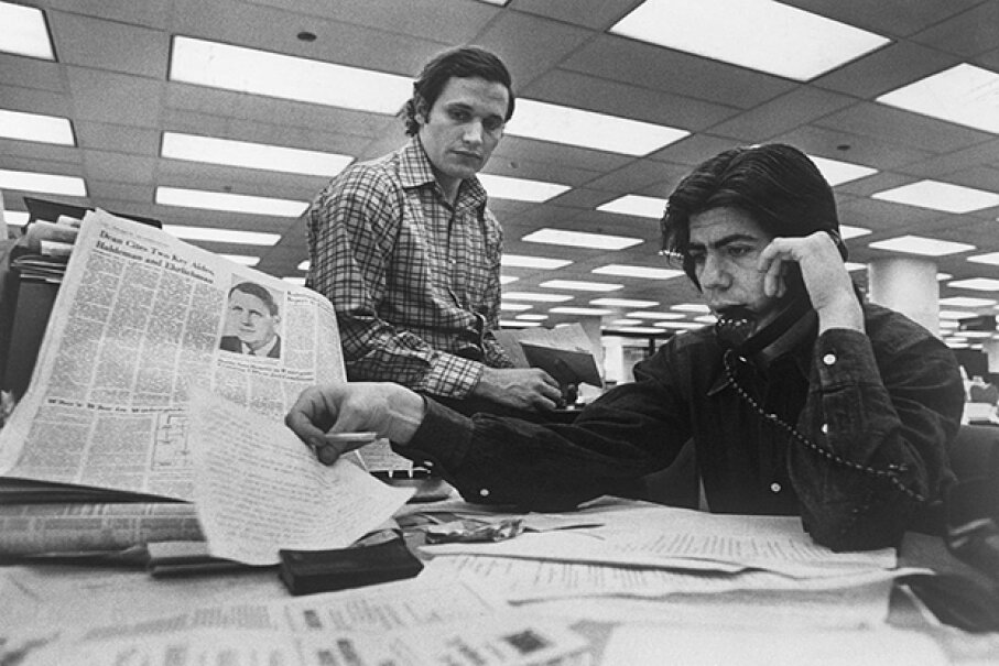 Washington Post staff writers Bob Woodward (left) and Carl Bernstein were instrumental in breaking the Watergate story. Bettmann/Getty