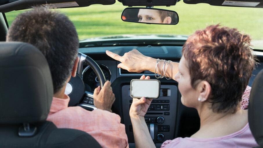 smartphone, mature couple