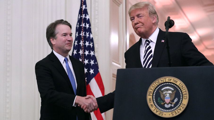 Brett Kavanaugh sworn in by Donald Trump