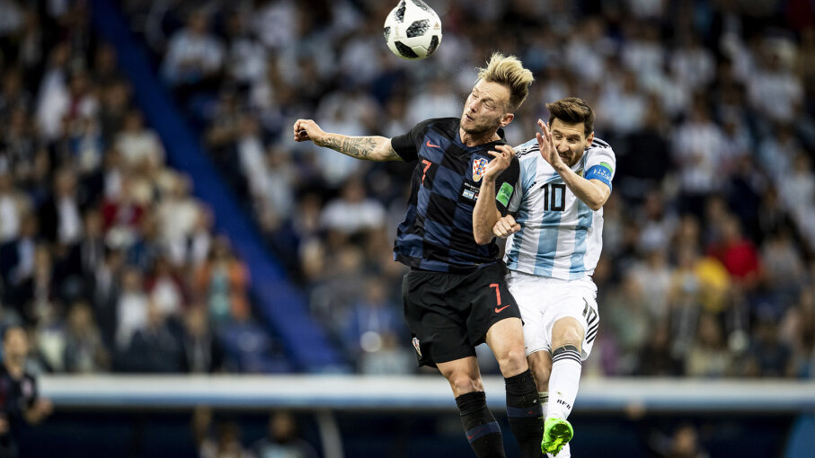 Lionel Messi and Ivan Rakitic during 2018 World Cup match