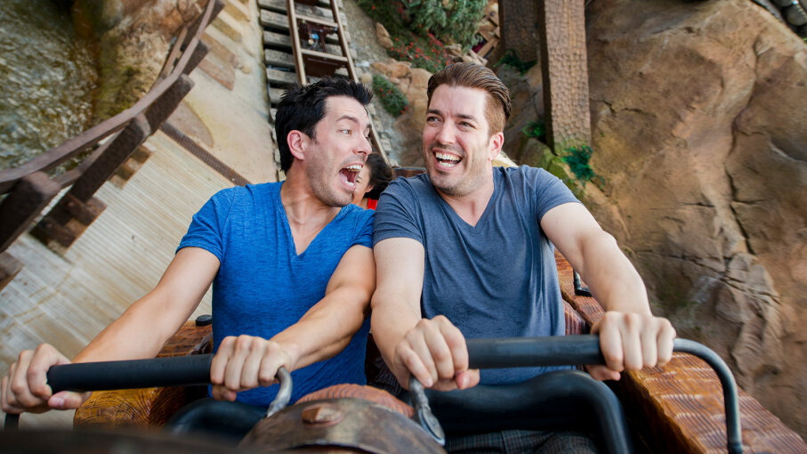 Property Brothers Drew Scott and Jonathan Scott, Seven Dwarfs Mine Train roller coaster