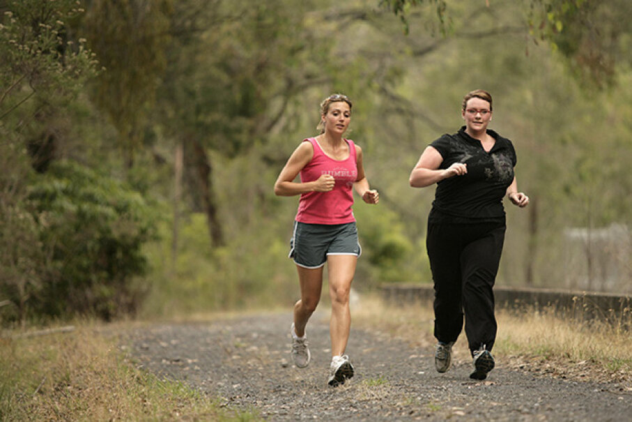 Nurse Fiona Tewierik (right) has PCOS and participated in a study on the effect of endurance exercise on her symptoms. Here, she works out with a personal trainer. Fairfax Media/Fairfax Media via Getty Images