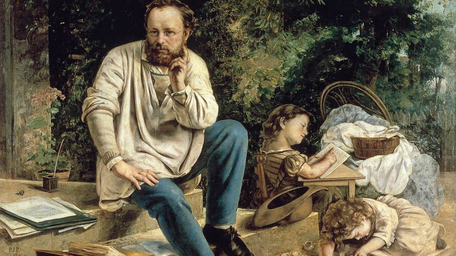 Pierre-Joseph Proudhon is depicted with his daughters in this painting. Proudhon was the first person to label himself an anarchist. DeAgostini/Getty Images