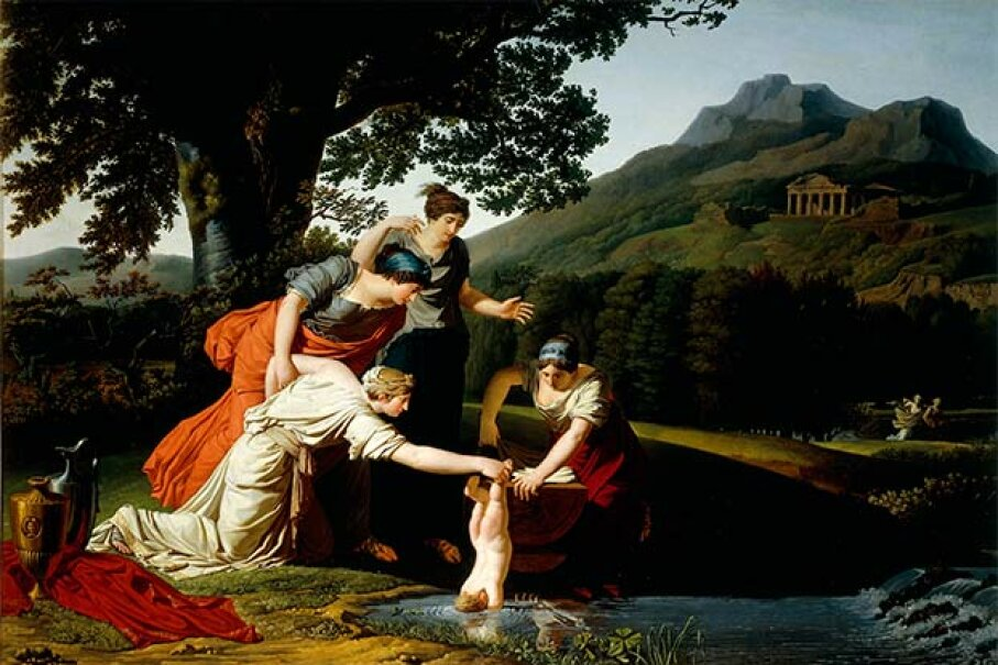 Thetis (Achilles' mother) dipped Achilles into the river Styx to make him immortal. Unfortunately, she missed one heel. DEA/A. DAGLI ORT/Getty Images