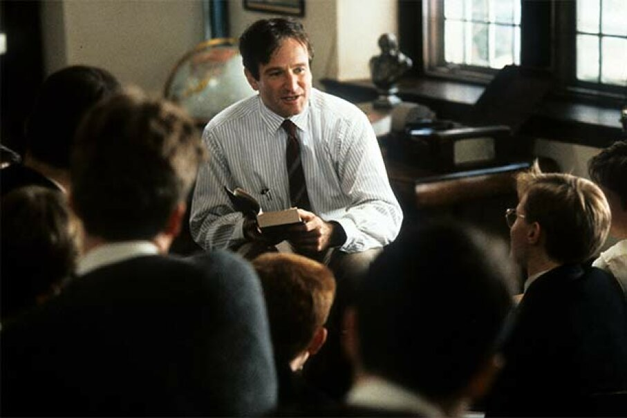"Robin Williams talks with his students in this scene from ""Dead Poets Society."" Touchstone Pictures/Getty Images"