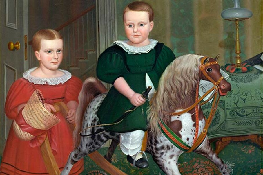 """This 1840 painting titled """"The Hobby Horse"""" by Deacon Robert Peckham shows a young boy enjoying a rocking horse. © Corbis"""