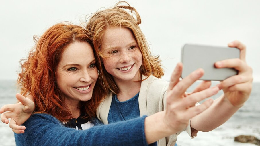 Redhead women and daughter