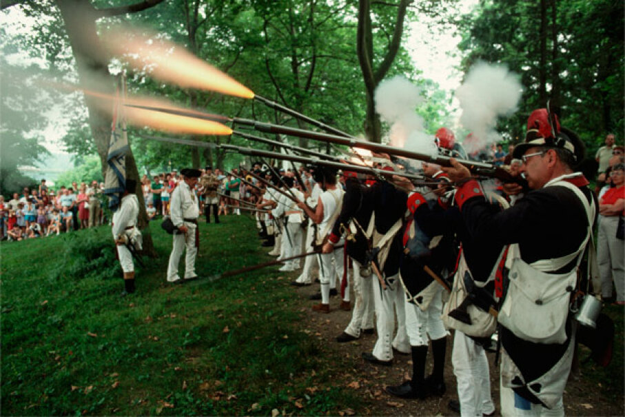Muskets weren't the most petite weapons, as this 1989 re-enactment photo demonstrates. © Kelly-Mooney Photography/Corbis