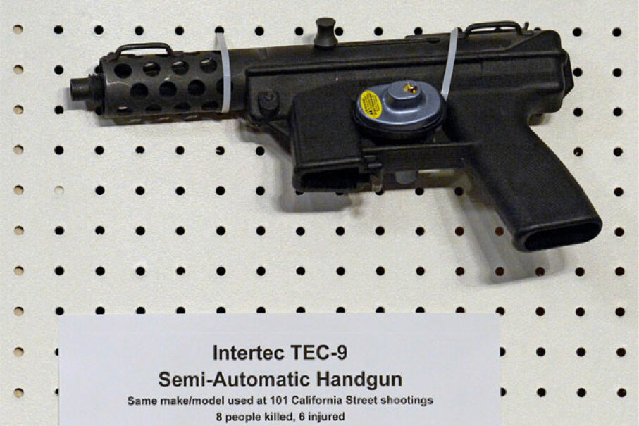 A TEC-9 semi-automatic handgun is displayed at the Jan. 24, 2013, press conference held by U.S. Sen. Dianne Feinstein to announce the introduction of federal legislation to ban assault weapons. © Ron Sachs/Corbis