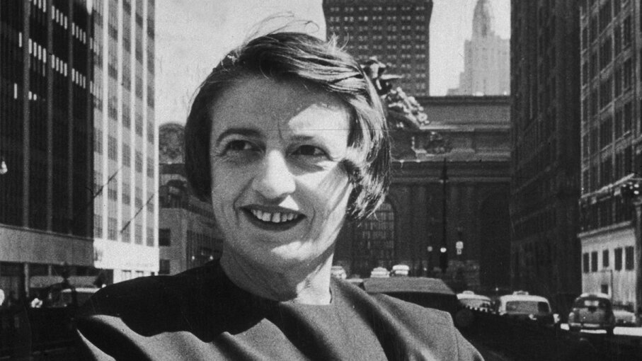 Author and philosopher Ayn Rand stands in front of the Grand Central building, midtown Manhattan, in 1957. New York Times Co./Getty Images