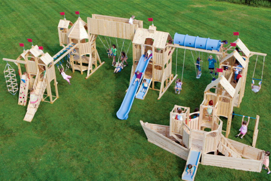 This CedarWorks model is from the company's Frolic line. It's priced at $24,240. Invest in it and you may have to turn away kids from neighboring counties. And states. Photo courtesy CedarWorks