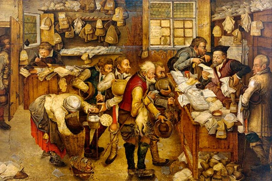 This painting by Pieter Breughel the Younger shows peasants paying the tax collector out of their meager goods. © Christie's Images/Corbis