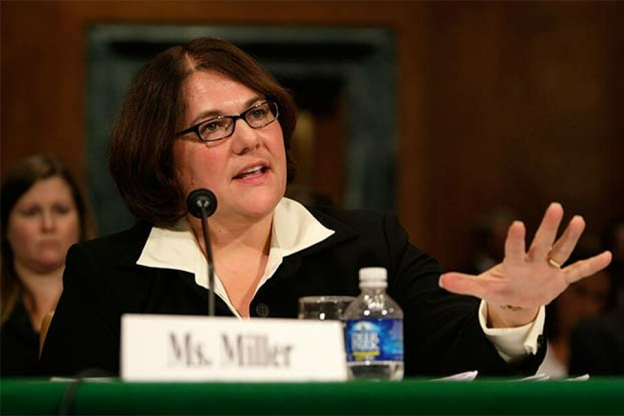 Debra Miller, standing Chapter 13 bankruptcytrustee for the northern district of Indiana, testifies during a hearing on Capitol Hill in 2008. Alex Wong/Getty Images