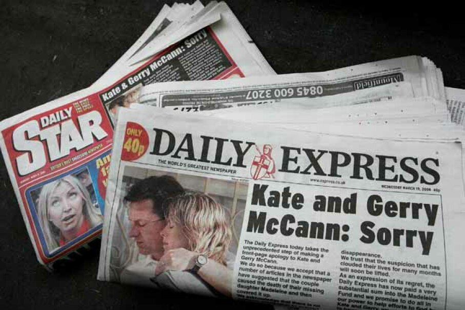 The front page of the Daily Express, apologizing for some false allegations concerning another scandal. Cate Gillon/Getty Images