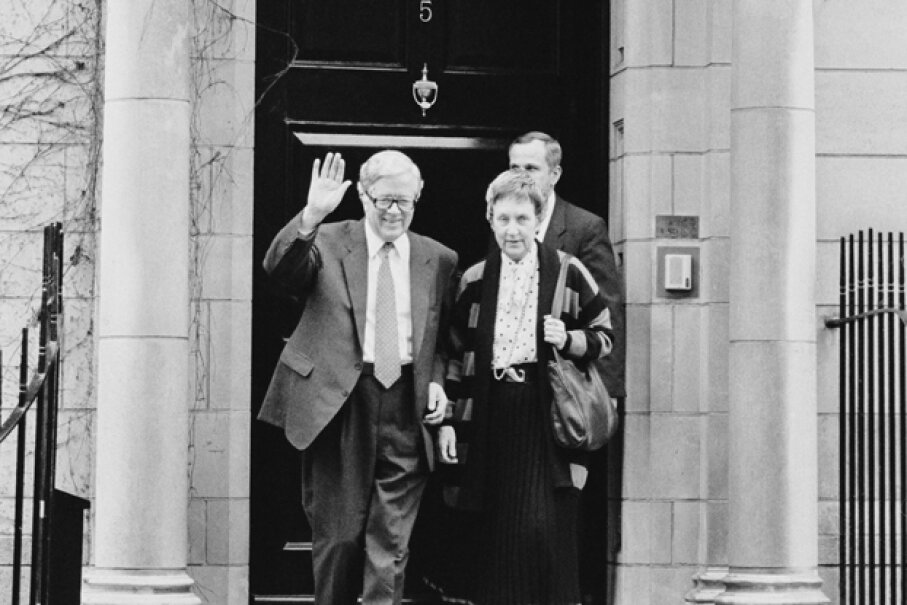 British Conservative politician Geoffrey Howe leaves his London home for the House of Commons, prior to giving his famous resignation speech criticizing Margaret Thatcher. With him is his wife Elspeth Howe. Peter Macdiarmid/Getty Images