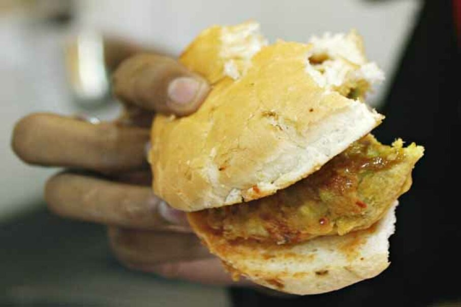 A detailed view of the popular food snack vada pav from a Jumbo King fast-food outlet in Mumbai. SAJJAD HUSSAIN/AFP/Getty Images