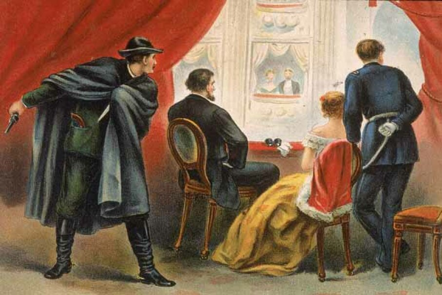 Illustration depicting John Wilkes Booth preparing to assassinate President Abraham Lincoln in the balcony of Ford's Theatre, Washington D.C., April 14, 1865. Kean Collection/Getty Images