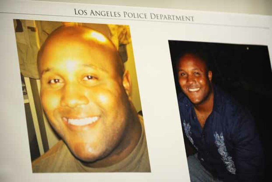 Photos of fired Los Angeles Police Department officer Christopher Dorner are seen at a press conference regarding the manhunt for him. ROBYN BECK/AFP/Getty Images