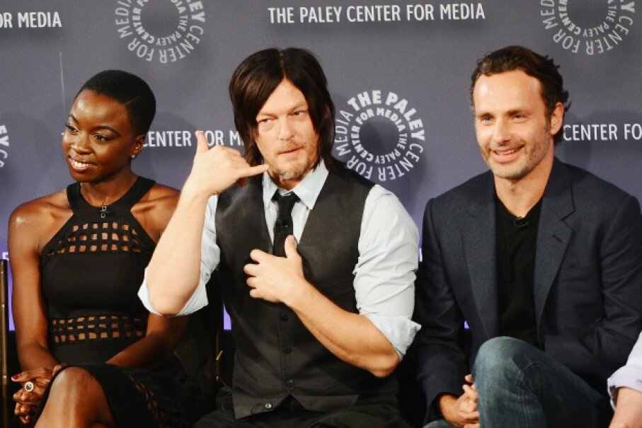 """""""The Walking Dead"""" actors attend an event in New York City. The show's gut-wrenching scenes are offset by moments of genuine human emotion. Stephen Lovekin/Getty Images"""