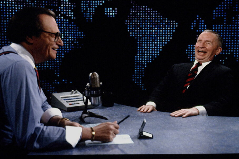 Ross Perot (right) announced his presidential candidacy on Larry  King's (left) popular TV show. Jeffrey Markowitz/Sygma via Getty Images