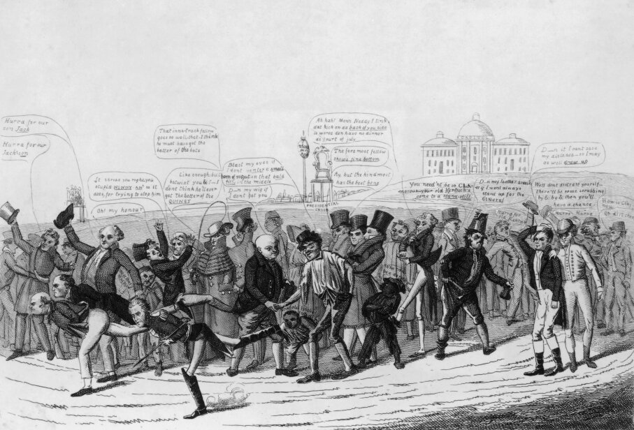 This political cartoon shows the three candidates in the 1824 election taking part in a foot race toward the White House. John Quincy Adams and William Crawford pull ahead of Andrew Jackson, who got the most popular votes but still lost the election to Adams. David Claypoole Johnson/MPI/Getty Images