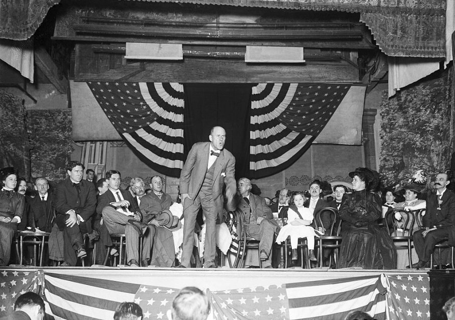 Eugene Debs delivers the antiwar speech in Canton, Ohio in 1918 that got him arrested. Bettmann/Getty Images