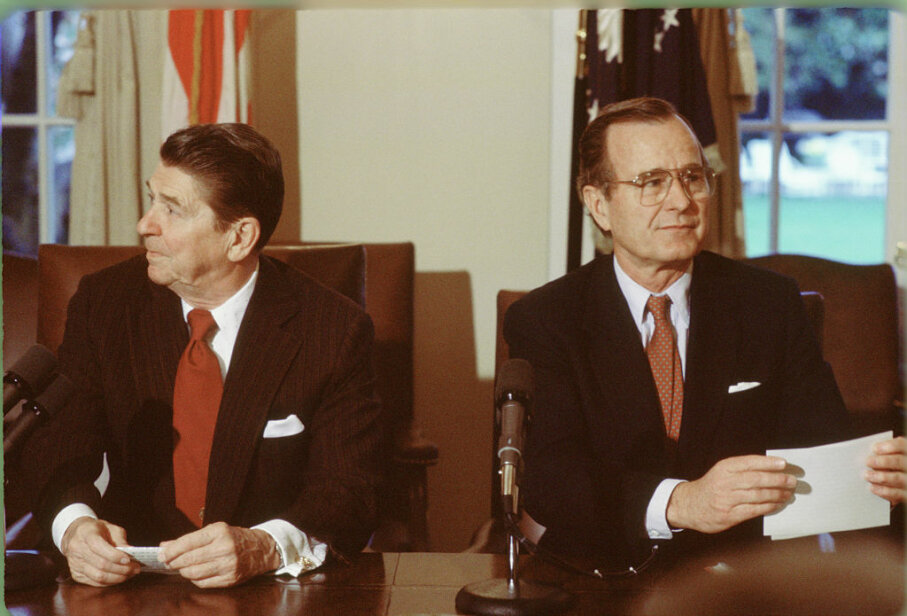 There was little love between Ronald Reagan (left) and his running mate George H.W. Bush. In fact. Reagan tried to get former President Gerald Ford to run in Bush's stead. David Hume Kennerly/Getty Images