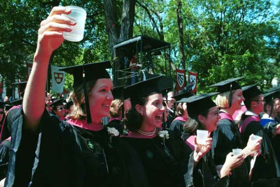 Harvard medical students toast their graduation with some wine. A study showed intelligent people were more likely to be binge drinkers. What other unusual connections have researchers studied? Darren McCollester/Newsmakers/Getty Images