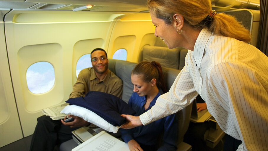 airline blanket, airline pillow