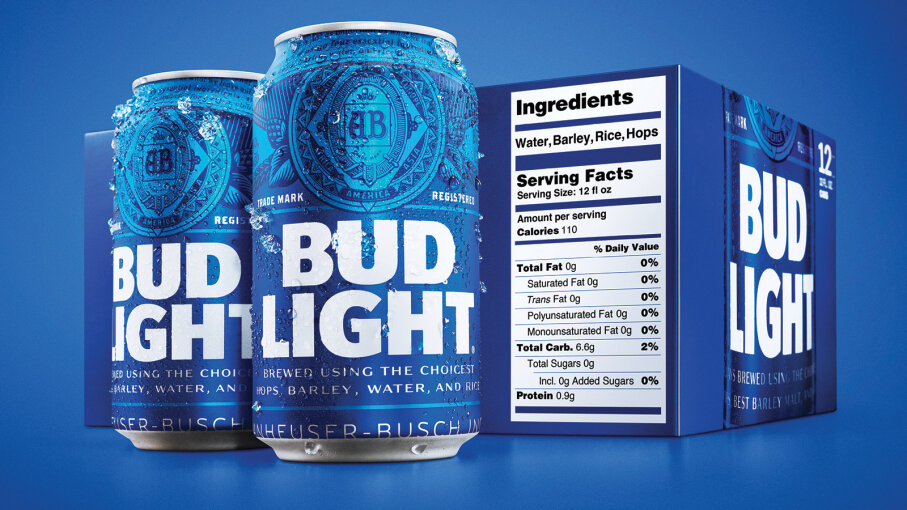 Bud Light nutritional label