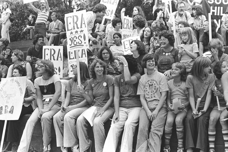Shot of the crowd gathered together during an ERA rally in 1976.
