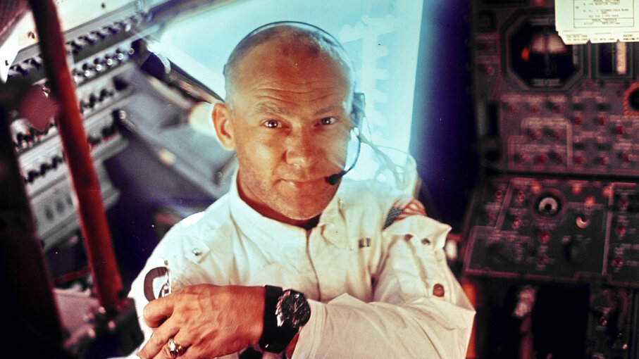 "Edwin E. ""Buzz"" Aldrin Jr. during the lunar landing mission"