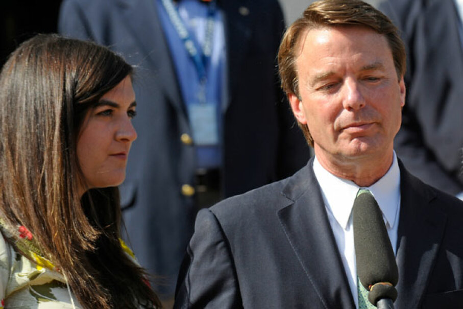 John Edwards and his daughter Cate spoke with media outside a federal court May 31, 2012, after he was acquitted on one count of campaign finance fraud, and a mistrial was declared on the other five counts. © Sara D. Davis/Getty Images