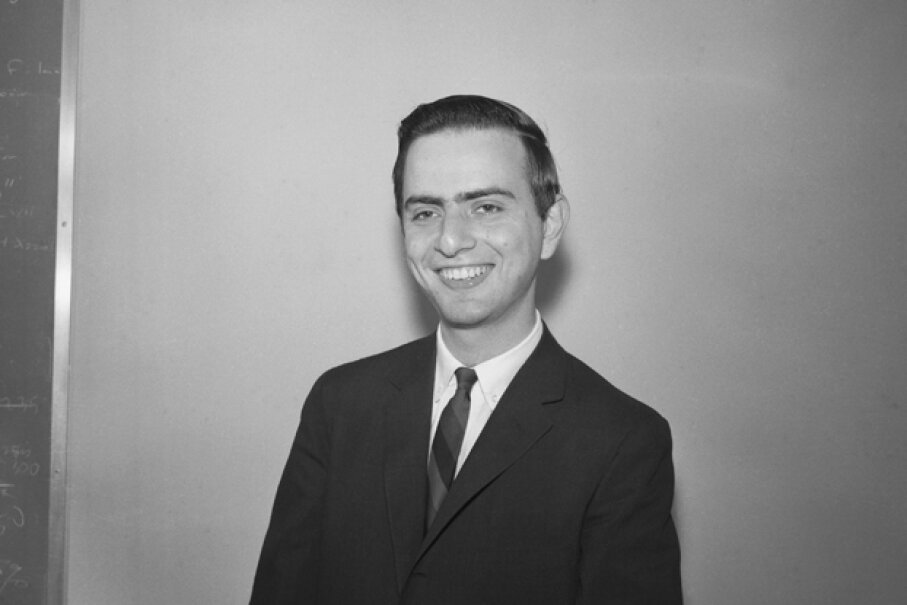 This 1961 photograph shows a young Carl Sagan shortly after he received in PhD. in astronomy and astrophysics. © Bettmann/CORBIS