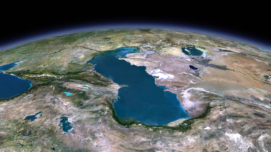 A 3-D satellite image of the Caspian Sea shows its placement between Iran, Kazakhstan, Turkmenistan, Azerbaijan and Russia. Planet Observer/UIG/Getty Images
