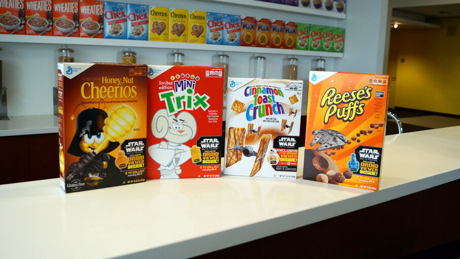 General Mills has had a licensing agreement with 'Star Wars' since 1977, and has included toys and prizes from the movie franchise in many of its cereals. General Mills